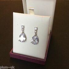 p 21 Large pear white sim diamond drop dangle earrings silver white gold gf BOXD