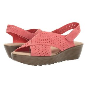 Skechers Parallel Plot Perforated Suede Slingback Demi-Wedges Coral Women's 6.5