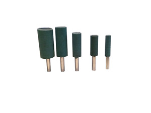 5x 4-10mm Cylinder Head Rubber Mounted Point Polishing Tool Green Suits Dremel