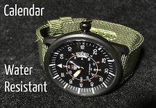 2018 Men's Military Pilot Analog Quartz Calendar Black Watch Green Nylon Strap