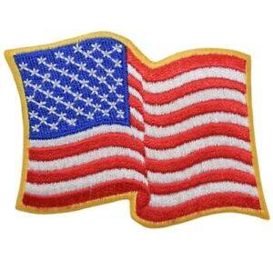 """American Flag Applique Patch - Wavy, USA, United States Badge 3.25"""" (Iron on)"""