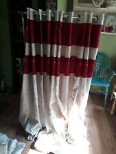 """Red And Cream Eyelet Curtains  Size 65""""×71"""""""