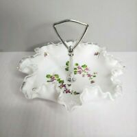 Fenton Silver Crest Milk Glass Hand Painted Violets In the Snow Tidbit Tray Dish