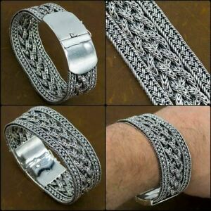 """8.5"""" 21.5cm 117g EXTRA WIDE WOVEN BRAIDED 925 STERLING SILVER MENS BRACELET"""