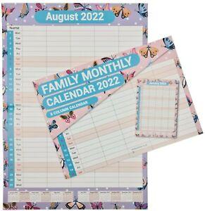 2022 Calendar Wall Monthly Planner Staff Rota Family Organiser BUTTERFLIES