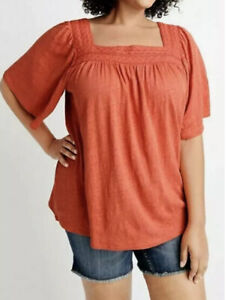 NEW RYLLACE ORGANIC LINEN SPICE MARKET CROCHET YOKE TUNIC TOP PLUS 2X ORANGE