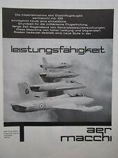 6/1962 PUB AVION AERMACCHI MB-326 MILITARY JET TRAINER ORIGINAL GERMAN AD