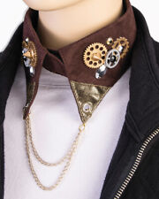 Steampunk Collar Brown Faux suede Fabric Costume Accessory W/ Asso Gears & Chain