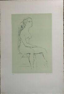 Ugo Capocchini litografia Nudo 1977 65x46 firmata numerata pubblicata Bisonte
