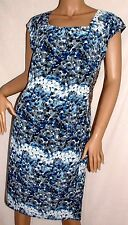 Together~ Blue Abstract Print Dress With Side Embellishment~ Size 18~ref 4