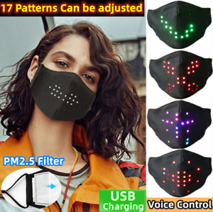 Smart Voice Activated Face Mask LED Glowing Nightclub Glowing Face Cover party