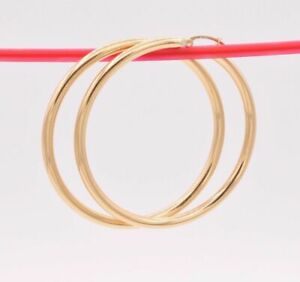 """3mm X 50mm 2"""" Large Plain All Shiny Hoop Earrings REAL 14K Yellow Gold 4.0gr"""