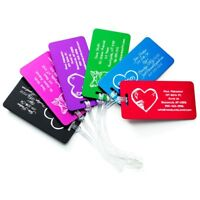 ✈️ Personalized Aluminum Luggage Bag Tags, Travel Wedding Gifts, Heart Design ❤️