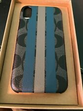 NIB Authentic Coach F77936 IPhone X/XS Case In Signature Canvas W/Varsity Stripe