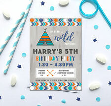 Tribal Boho theme Birthday Party Invitations *Any Age*- pack of 10 inc envelopes