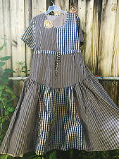 Shabby MAGNOLIA flower DRESS pearl buttons VICTORIAN Blue Taupe XL - 1X - 2X