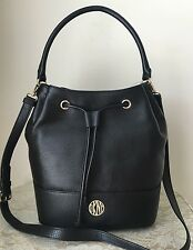 NWT DKNY soft black pebble leather bucket drawstring tote bag purse satchel $345