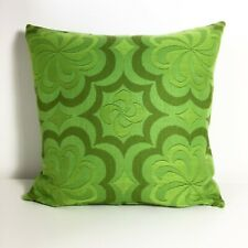 Vintage 1960s 1970s Abstract Cushion Cover Lime Green Psychedelic Mod