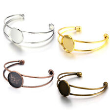 20 Brass Cuff Bangle Blank Cameo Cabochon Setting Bezel Round Bracelet 20mm Tray