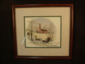 P. BUCKLEY MOSS FRAMED MATTED CHERISHED EVE PRINT # 6685