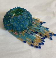 Antique Glass Czech Blue Flower Beaded Fringe Figural Lamp Bulb Shade Cover
