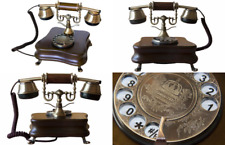 Opis 1921 Cable B Retro Telephone Wood and Metal Body Rotary Dial Metal Bell