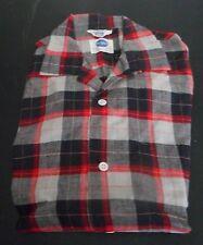 NOS 50s-60s PILGRIM Red Black Greys Shadow Plaid! Camp Loop Collar! ROCKABILLY L