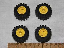 LEGO Technic Räder Reifen - 4x Steckräder 6015 +Felge 6014 gelb (kleiner Pin)