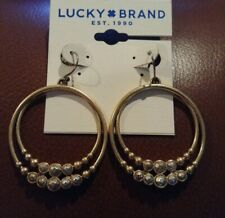 Lucky Brand Double Hoop Earrings - Gold & Silver Tone - 1 & 1/2 Inches