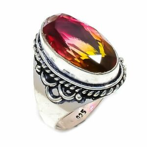 Bi-Color Tourmaline Gemstone 925 Sterling Silver R-33 Ring Jewelry Size 10.5
