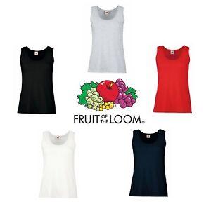 Ladies Vest Tank Top Womens Fruit of the Loom Cotton Plain White Black T-Shirt