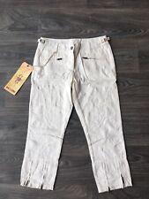 NWT Da Nang Women's Cargo Cropped Pants Double Zip Pearled Ivory