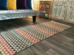Karal Rug Pink and Multicolour Triangle Bunting Stripe Cotton Rug Various Sizes