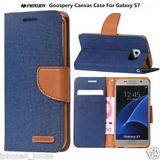 Genuine MERCURY Goospery Canvas Navy Blue Flip Case Wallet Cover For Galaxy S7