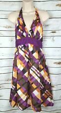 Anthropologie Moulinette Soeurs Purple Halter Dress Plaid Rayon 6