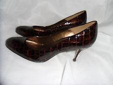 Bertie Mujer Cuero Marrón De Piel Sin Cordones Tacón Zapatos Talla Uk 8 EU 41 nos 11 en muy buena condición