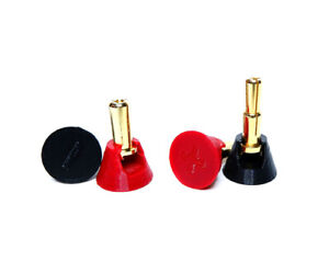 5mm Bullet Connector Caps - Low Profile Plug Grips - Red / Black