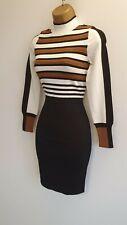 Karen millen BNWT Black Cream Striped Sexy Knitted Jumper dress Bodycon S 10