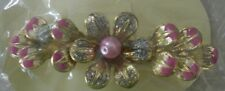 Hair Barrette Flower with Pink Enamel Accents Styling Accessory