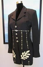 "VTG Gemma Kahng Bergdorf Goodman ""Matisse Jazz"" Black Silk Jacket/Top Sz 6"