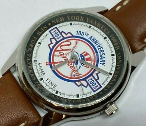 Yankees 100 Anniversary Game Time Men Leather Analog Quartz Watch Hours~New Batt