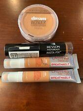 (4) Medium Dark Foundation Makeup ~ Revlon, Rimmel, Maybelline ~ Full Size