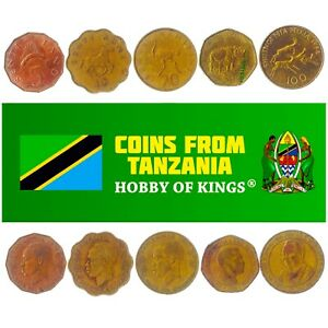 5 TANZANIAN (ZANZIBARI) COINS. DIFFERENT COLLECTIBLE MONEY. AFRICAN CURRENCY
