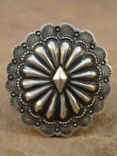 Big Old Style Navajo Sterling Silver Concho Ring sz 8 1/2