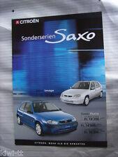 Citroen Sonderserien Saxo (Furio 1.1i + 1.4 VTS, Image 1.4i) Prospekt, CH (D)