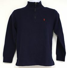 Ralph Lauren Navy Blue Knit Pullover Sweater Size 10 to 12 M Red Pony Logo Zip