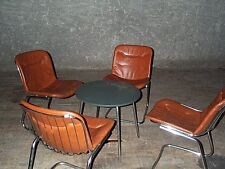 Lot 4 chaises ou  fauteuils années 70 en métal et skaï,meuble vintage déco loft