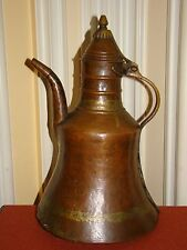 Antique Handmade Hammered Copper Lidded Jug/Kettle w/Brass Handle