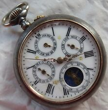 Triple Date & Moon Phase Pocket watch open face gun case 50,5 mm. in diameter