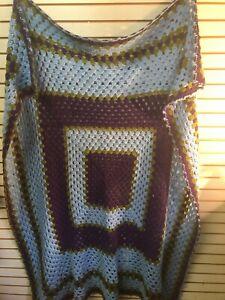Vintage Handmade Purple & Blue Wool Afghan